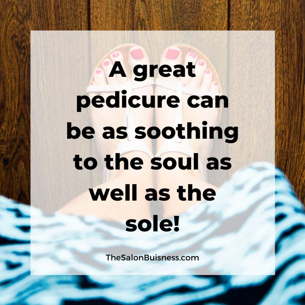 Motivatioanl pedicure quote - self healing - woman with red toes and blue dress