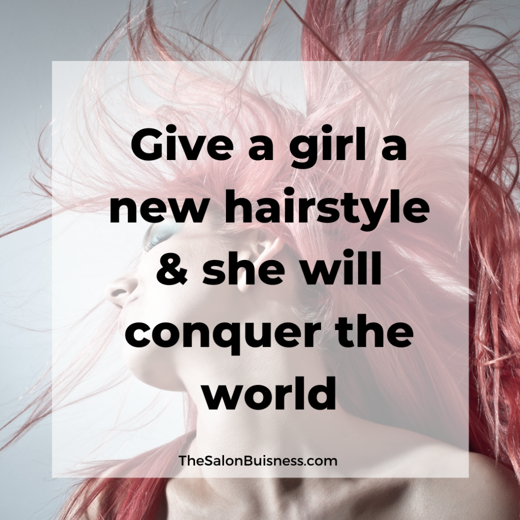 Woman with pink hair flipping hair. Quote about a new hairstyle.