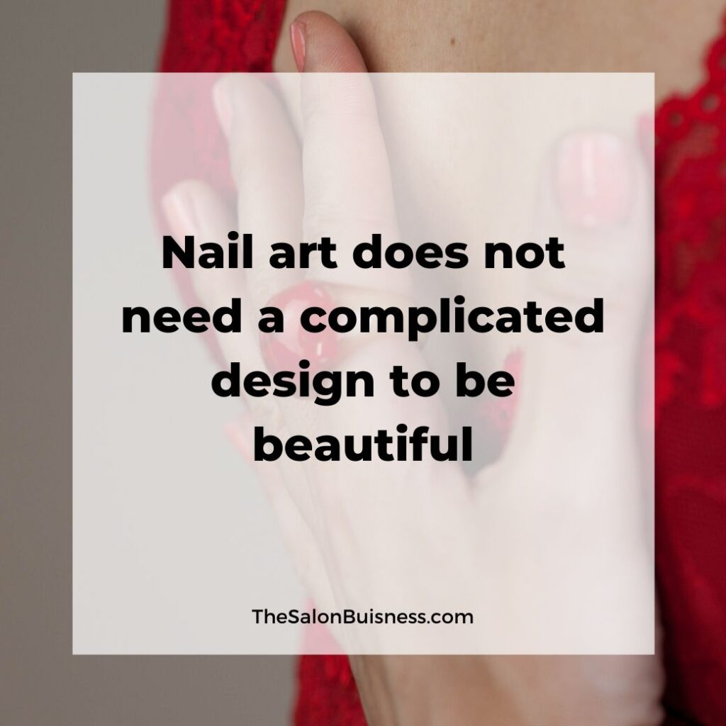 Nail art motivational quote - woman holding chest - red nails