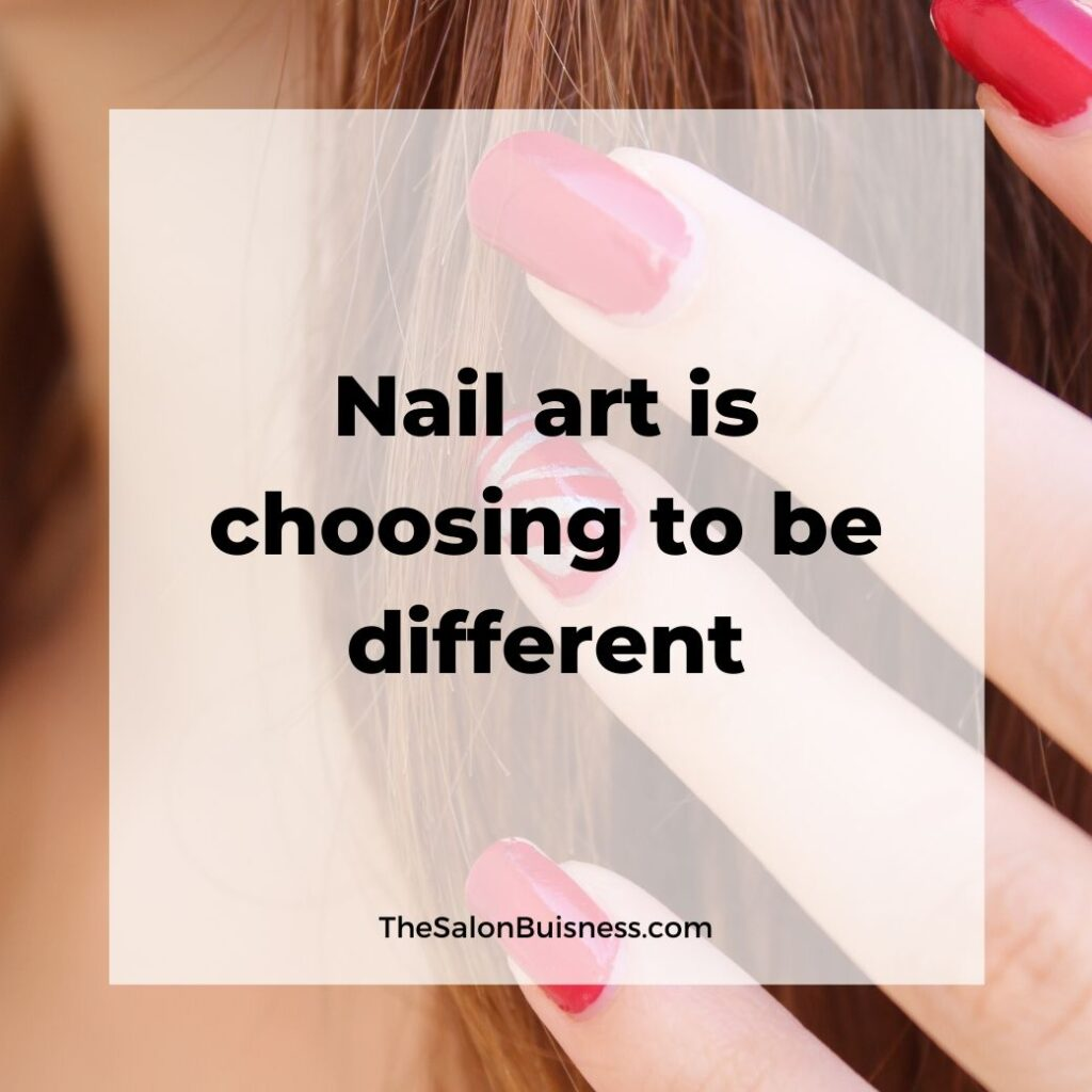 Nail art quote - woman with red nails and brown hair