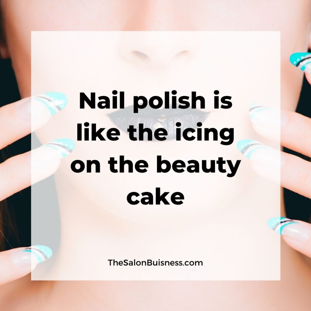 Nail polish motivational quote - beauty - woman with blue nails & black lipstick