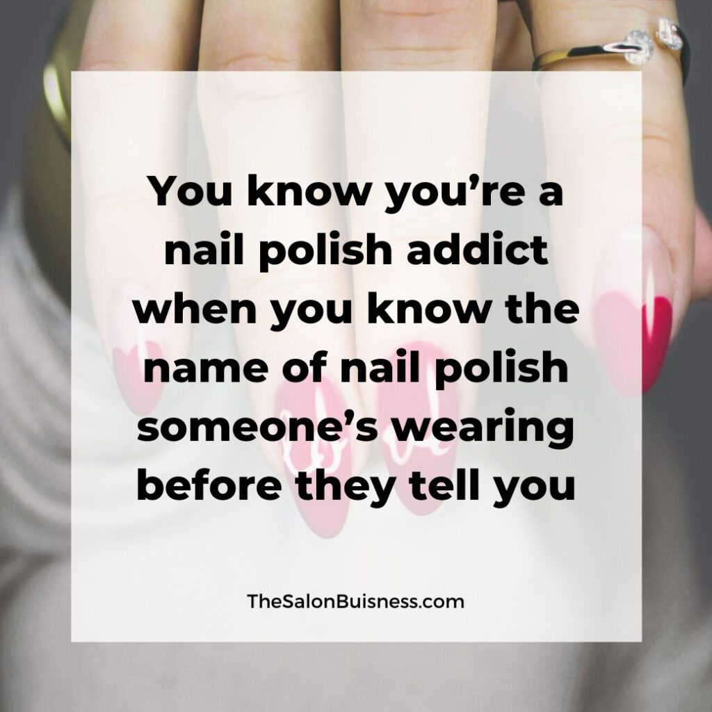 Funny nail polish quote - woman with red nails and gold rings