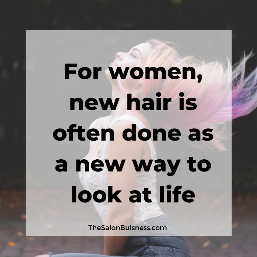 Women with pink & purple hair flipping her hair. Quote about new hair.
