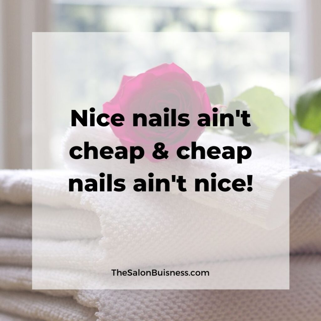 Nice nails quote - red rose on top of towels