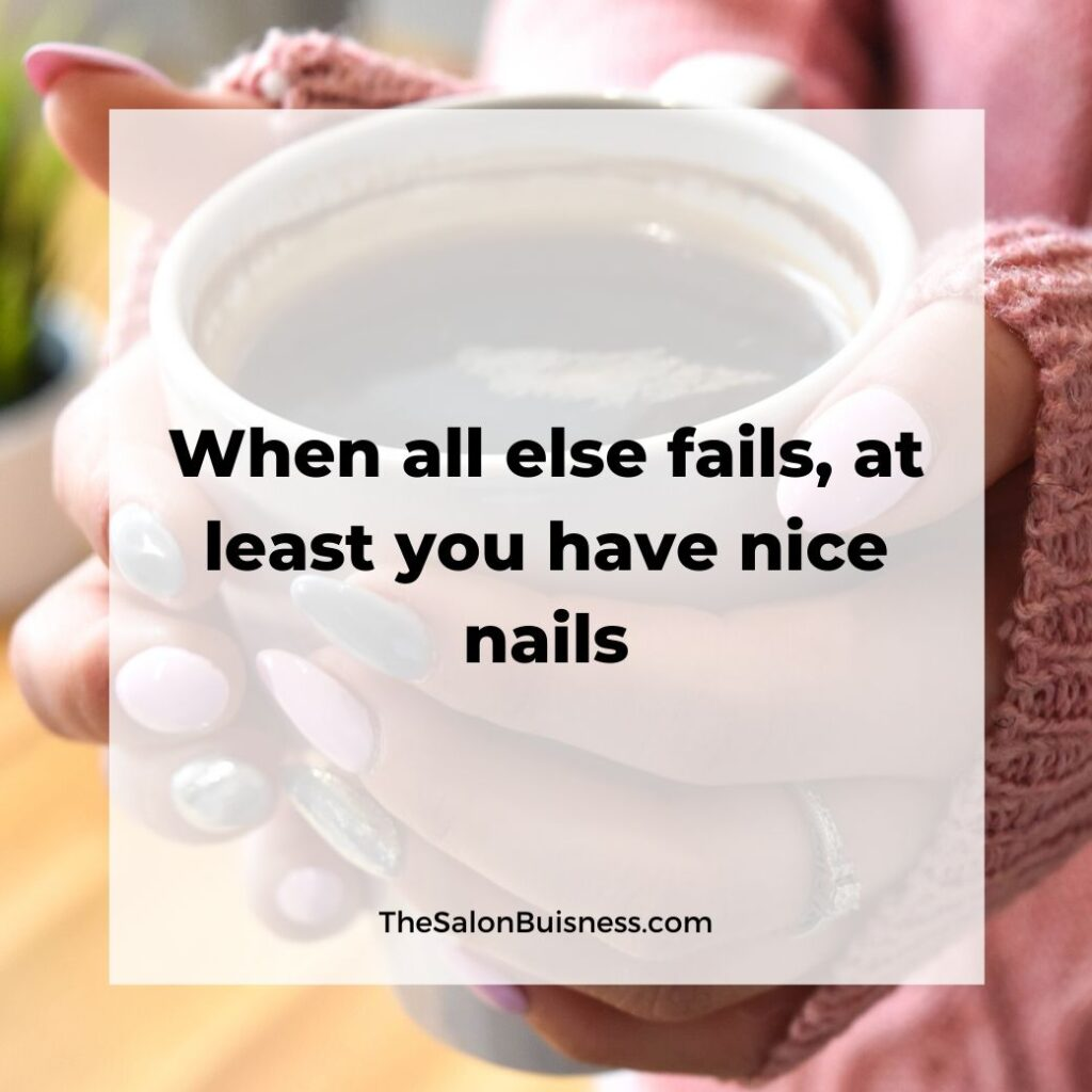 Nice nails quote - woman with pink & silver nails holding cup