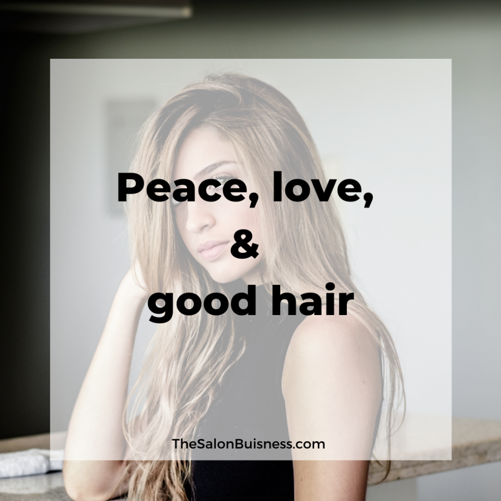 Blonde woman in black - inspirational good hair quote.