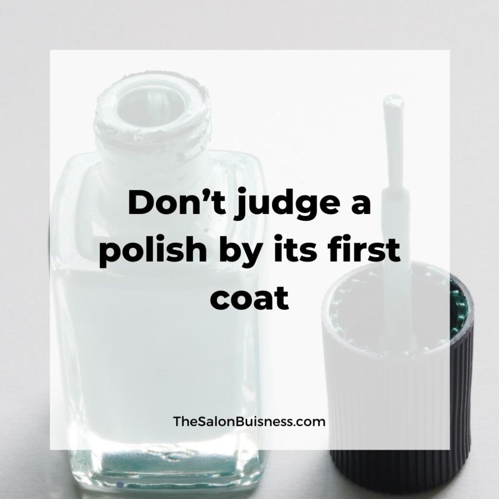 Relatable funny nail polish quote - first coat - green nail polish bottle