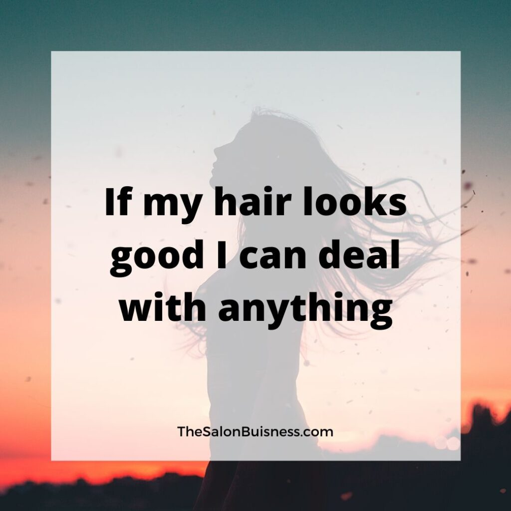 Woman standing in sunset with hair blowing - hair quote