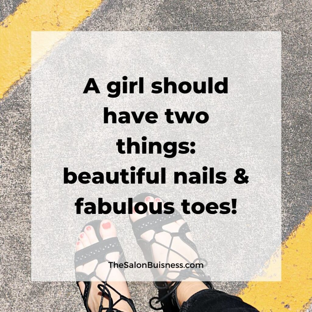 Woman with red nails & black shoes - motivational quotes