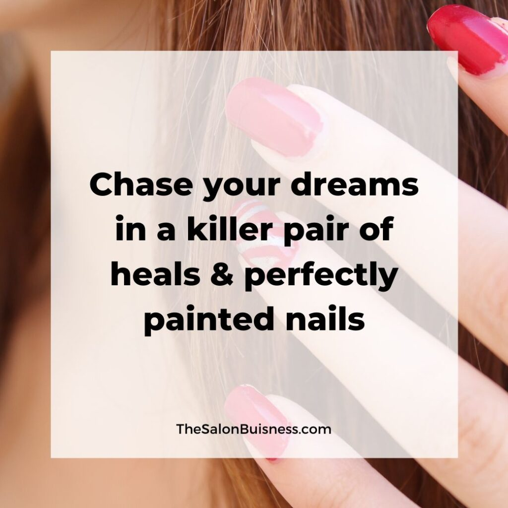 Women relatable nail and heel quotes - red nails with brunette hair