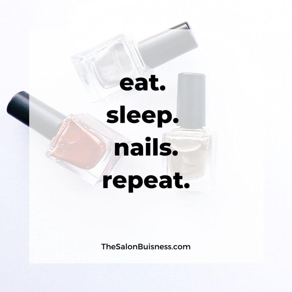 eat sleep nails repeat - funny nail moto - red, silver, & gold bottles of nail polish
