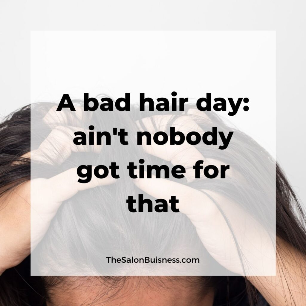 Bad hair day quotes - woman running fingers along scalp - black hair