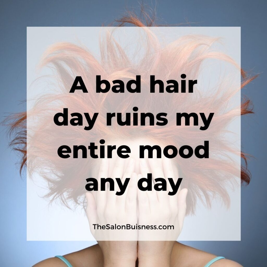Bad hair day quotes - woman with messy orange hair covering face