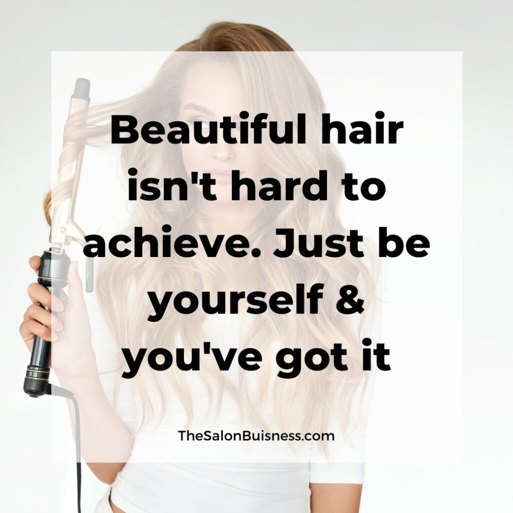 Beautiful hair quotes -  woman curling blond hair - woman in white shirt
