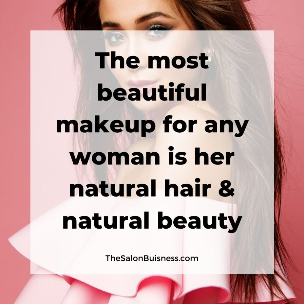 Beautiful hair quotes -  woman with straight dark hair - in pink ruffle dress