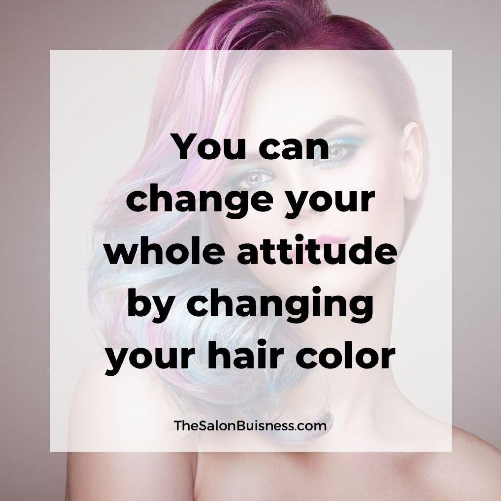 Colorful hair quotes - Woman with short pink & blue hair pulled to the side