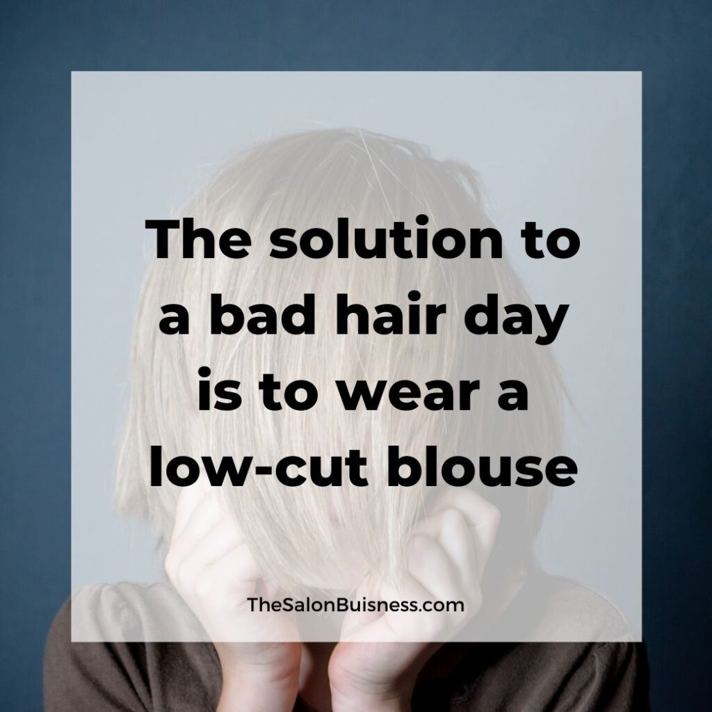 Funny bad hair day quotes - blonde woman with short hair covering face with hair