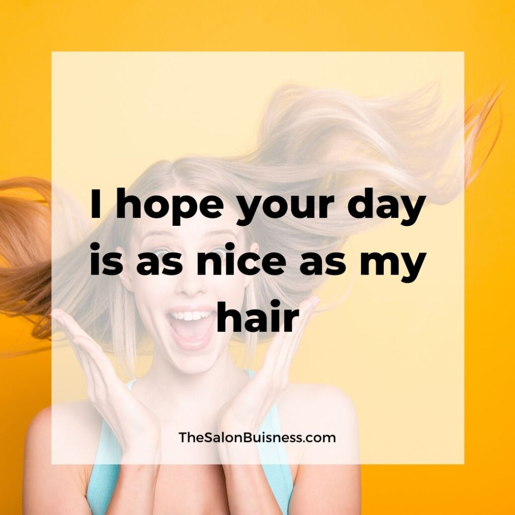 Funny good hair quote - spunky blond throwing hair back - yellow background