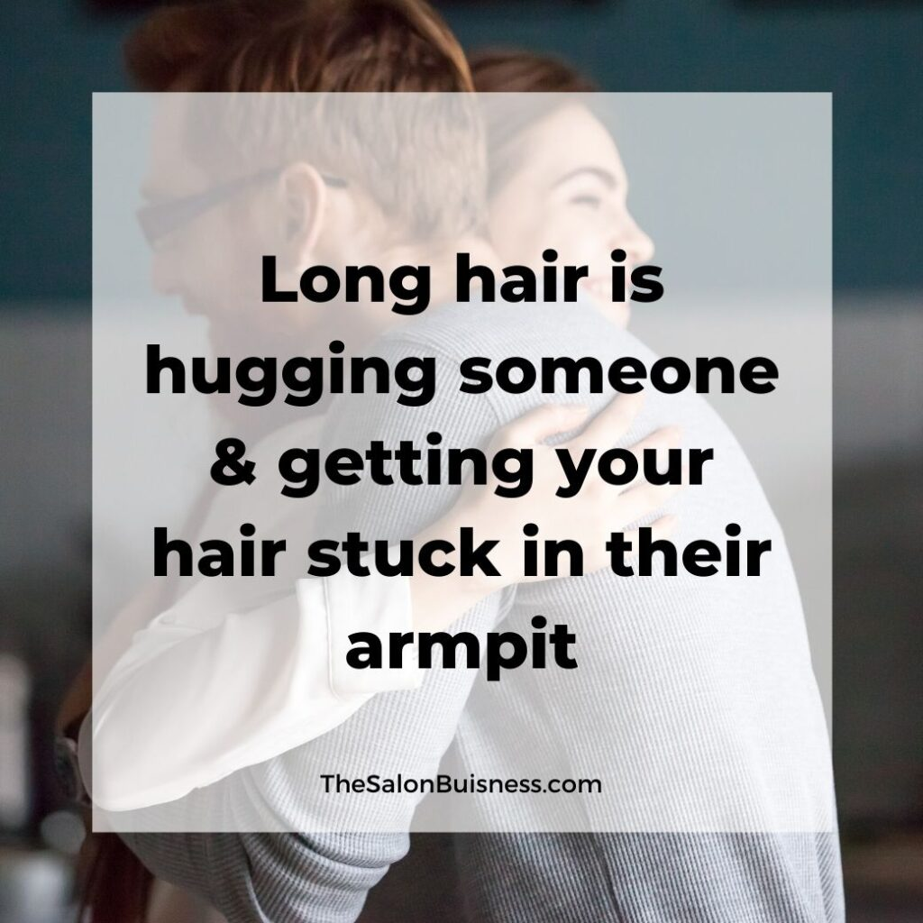 Funny long hair quotes  - woman hugging man with glasses