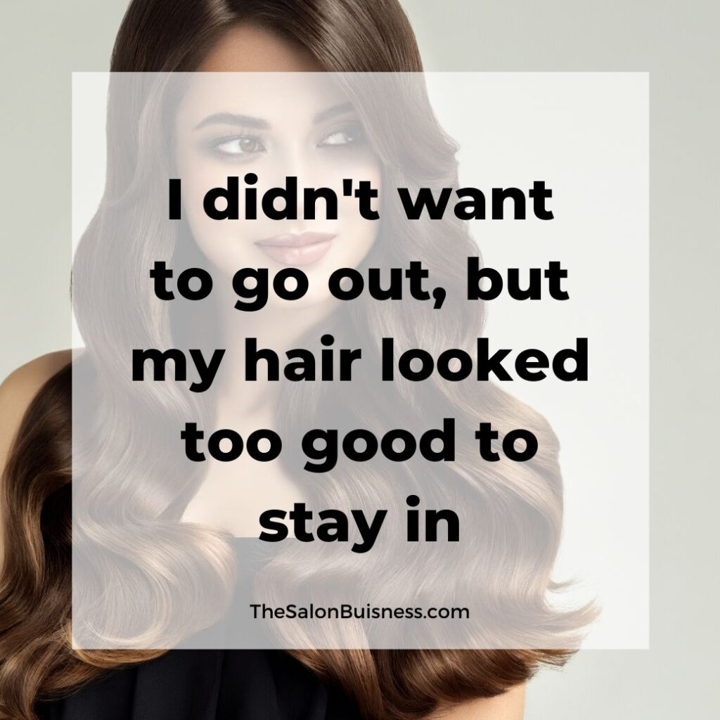 Good hair quote - long brunette wavy haired woman smiling