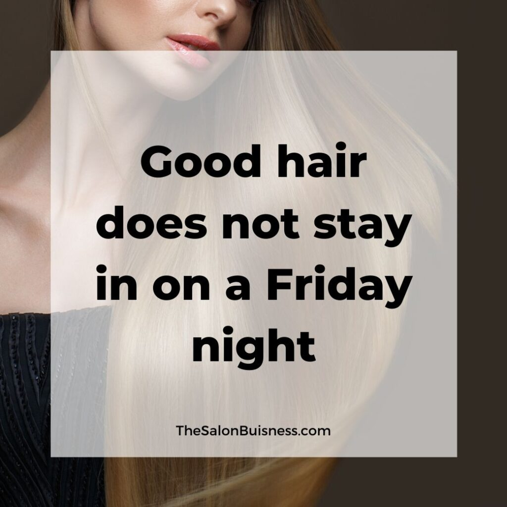 Good hair quote - woman in black dress with smooth & silky long blond hair & peach lipstick