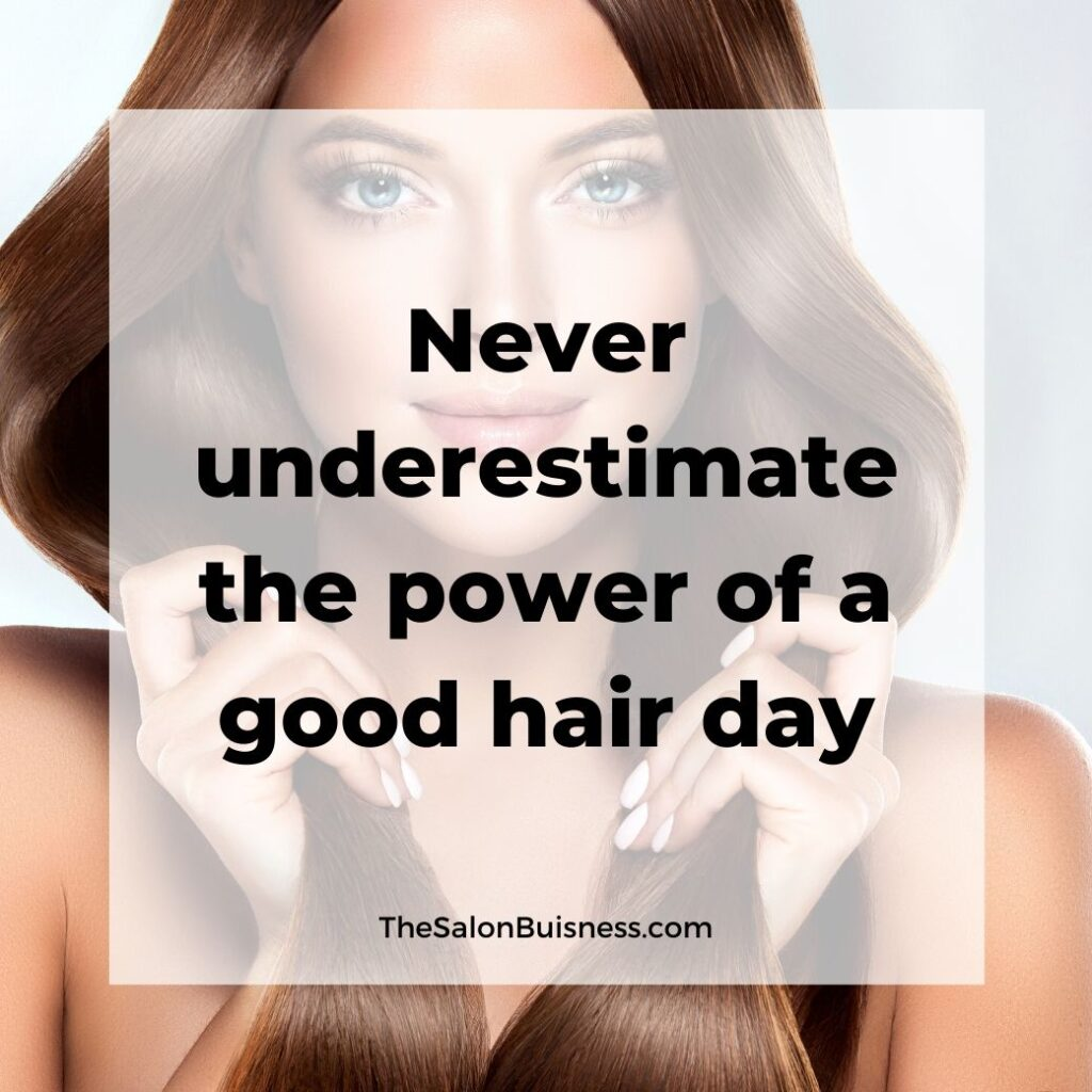 Good hair quote - woman with silky brown hair holding hair in two sections