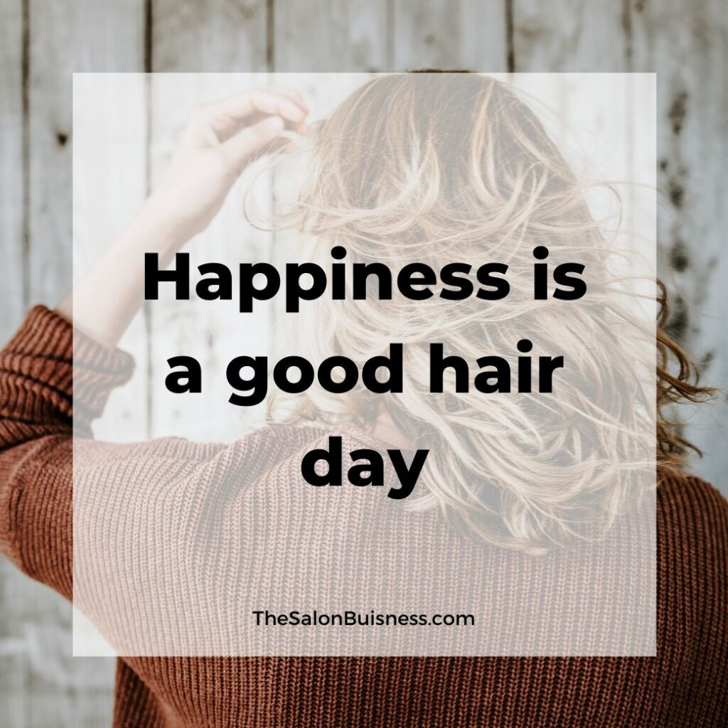 Good hair quotes - woman with orange sweater & blonde hair blowing in the wind