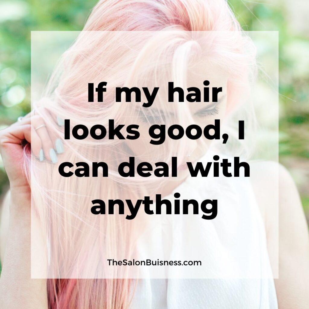 Good hair quotes - woman with pink hair & light green nails holding hair & looking down