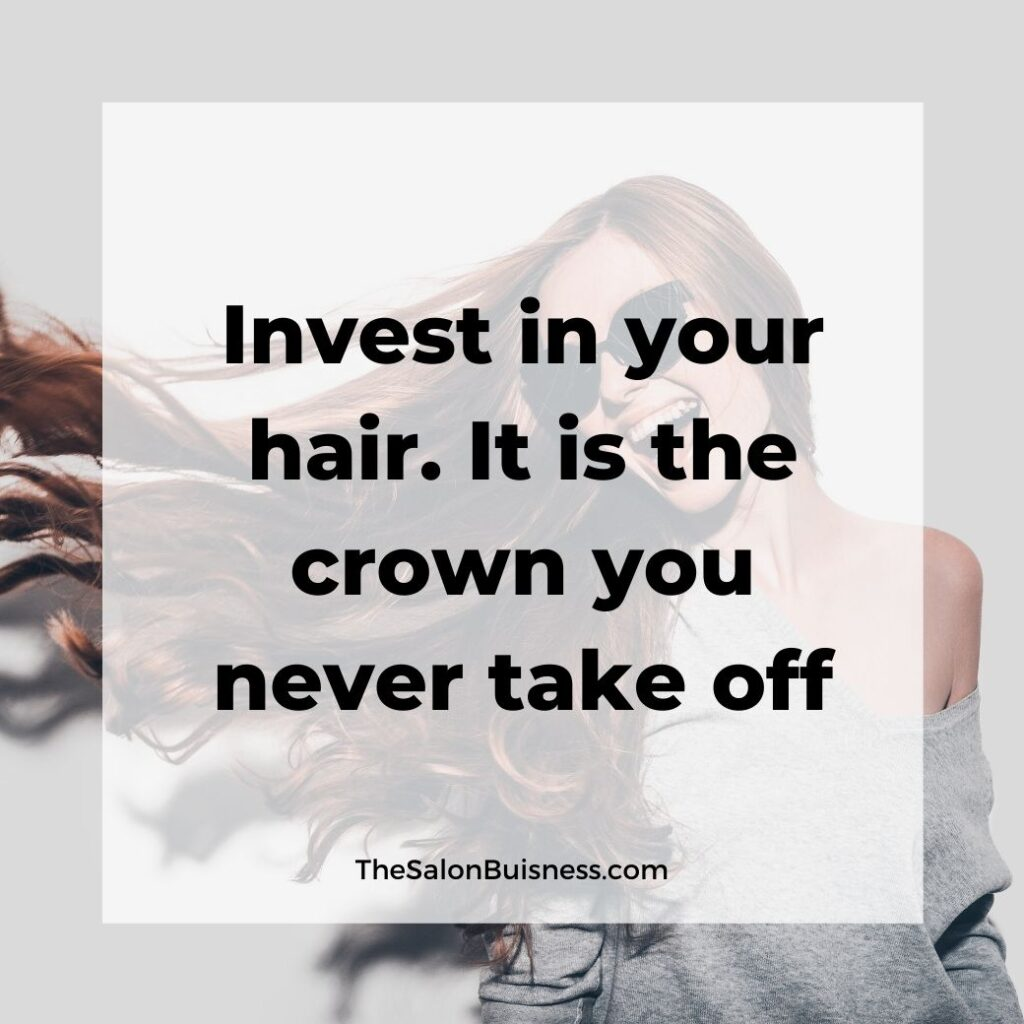 Hair care quotes -  woman wearing sunglasses with curled brown hair laughing in grey off the shoulder sweater
