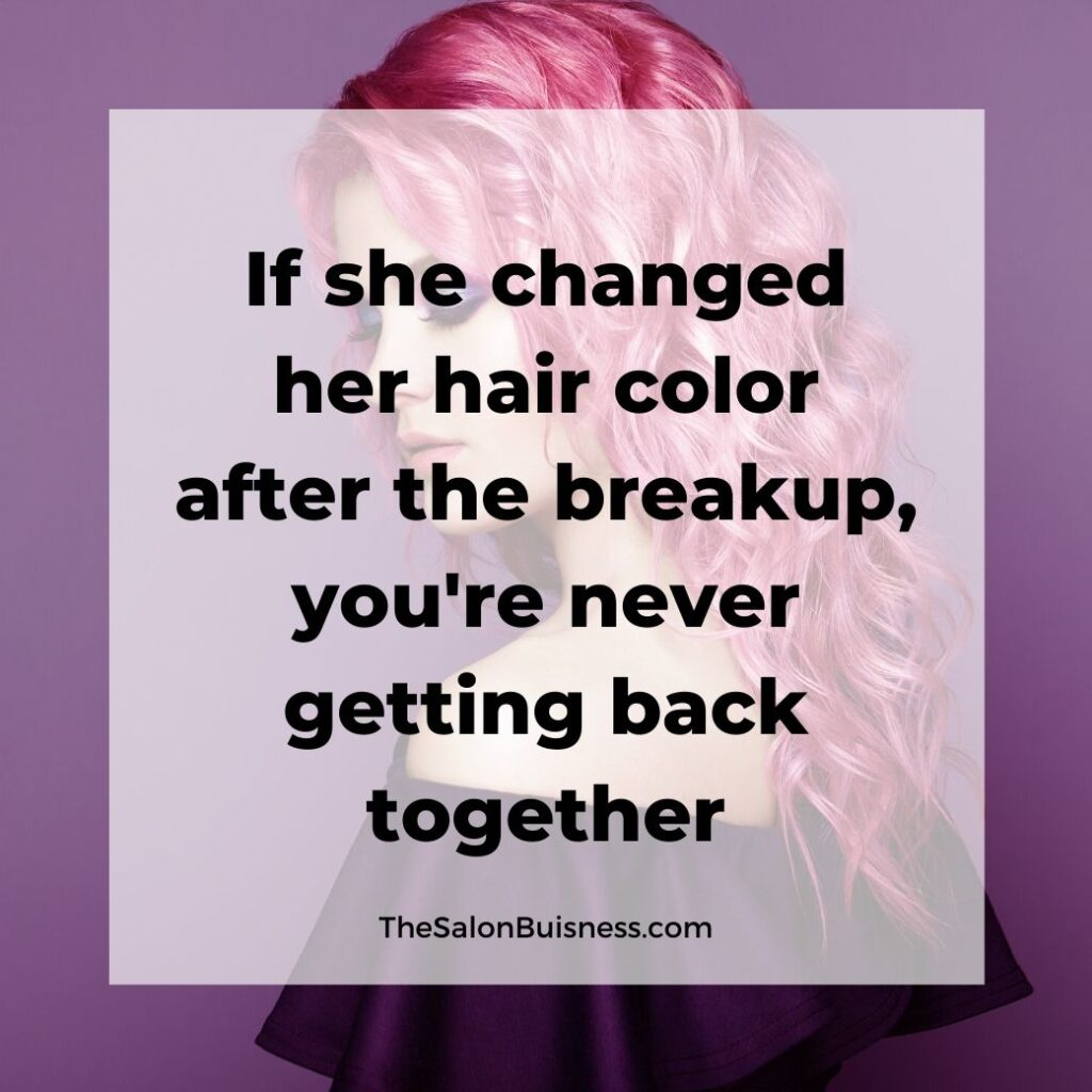 Hair color quotes - woman with long wavy pink hair looking down - purple background