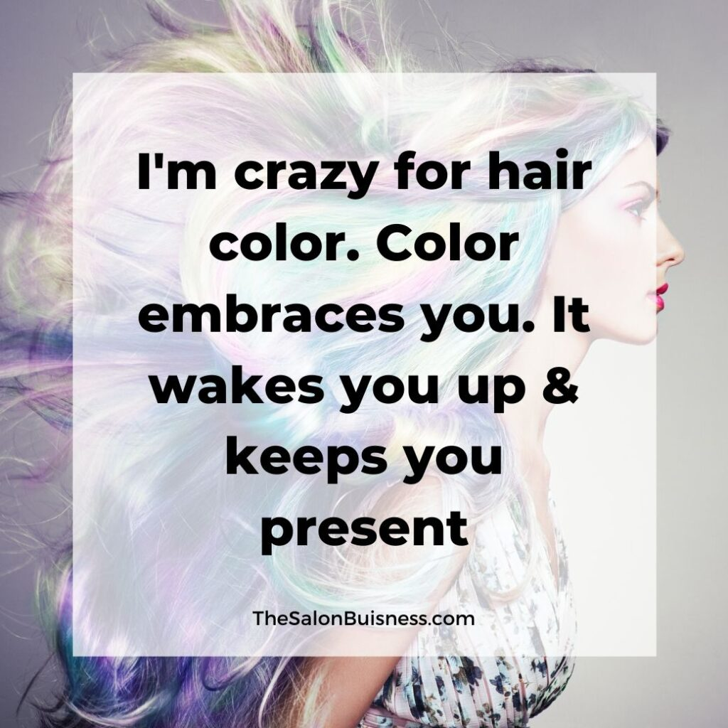 Inspiring colorful hair quotes - Woman with rainbow hair blowing in wind