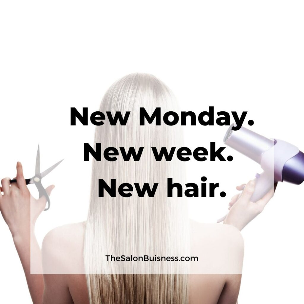 New hair quotes - woman with long straight blond hair holding scissors & blow dryer