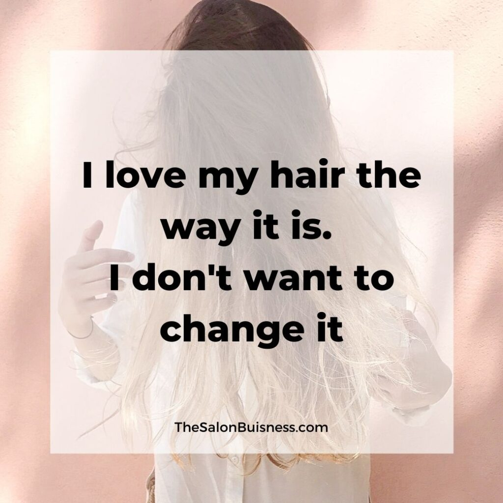 Positive Hair care quote - woman with brown & blond hair covering face pointing at hair - dressed in white shirt
