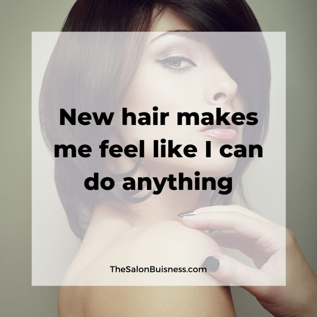 Quotes about new hair  - woman with short brown hair touching shoulder