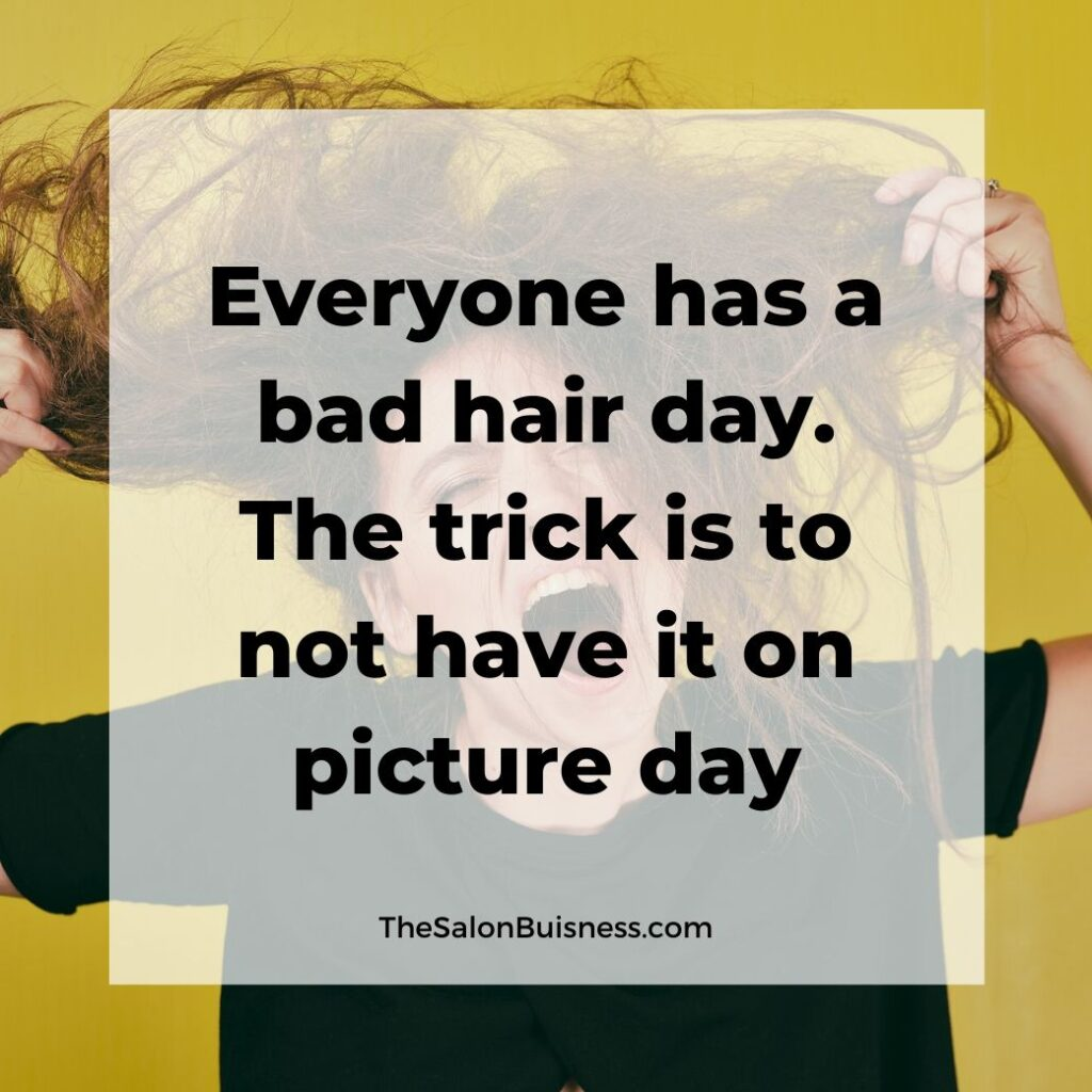 Relatable bad hair day quotes - woman holding messy brown hair screaming - yellow background