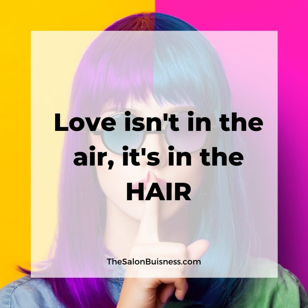 colorful hair quotes -  woman wearing round sunglasses with purple & blue hair - yellow & pink background