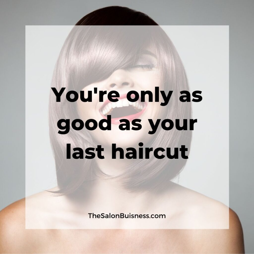 funny haircut quotes - woman with short brown hair laughing