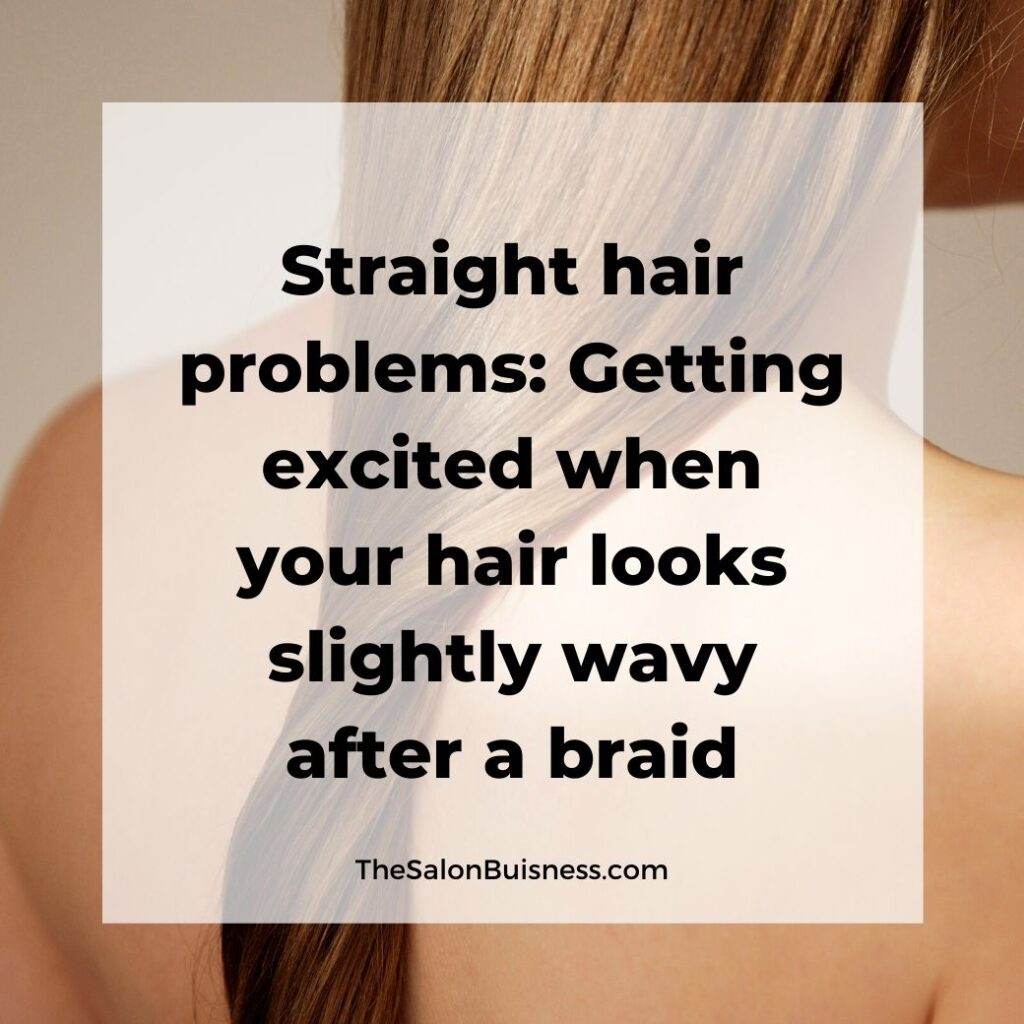 funny straight hair quotes  -  woman with straight brown hair wrapped up down back