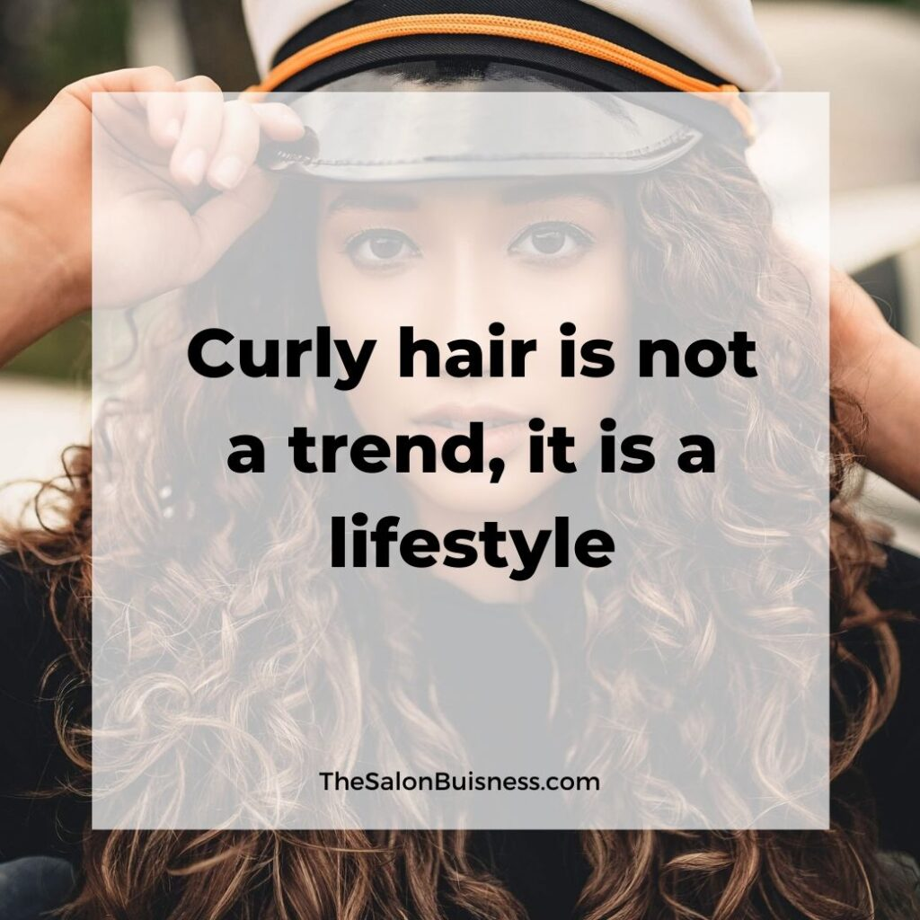 hair care quotes  -  woman with long curly brown hair wearing captains hat