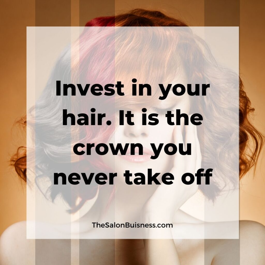 hair care quotes  - woman with short black, red, orange, & brown hair with one hand on face - orange background