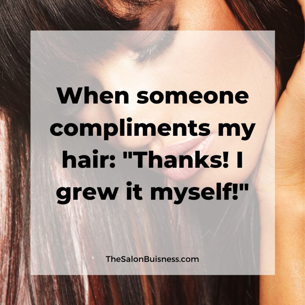 hair compliments quotes   -  woman with brown hair and bangs looking down