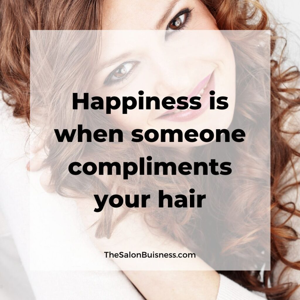 hair compliments quotes   -  woman with curly brunette hair smiling