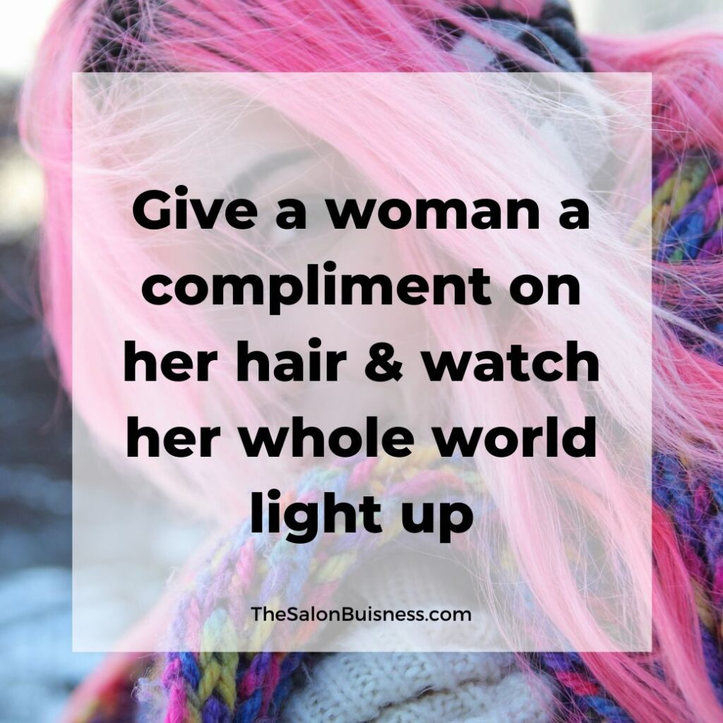 hair compliments quotes   -  woman with pink hair wearing rainbow colored scarf