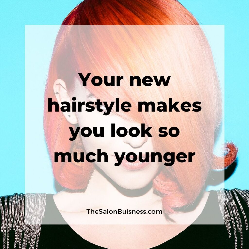 hair compliments quotes   -  woman with short over the eye orange hair