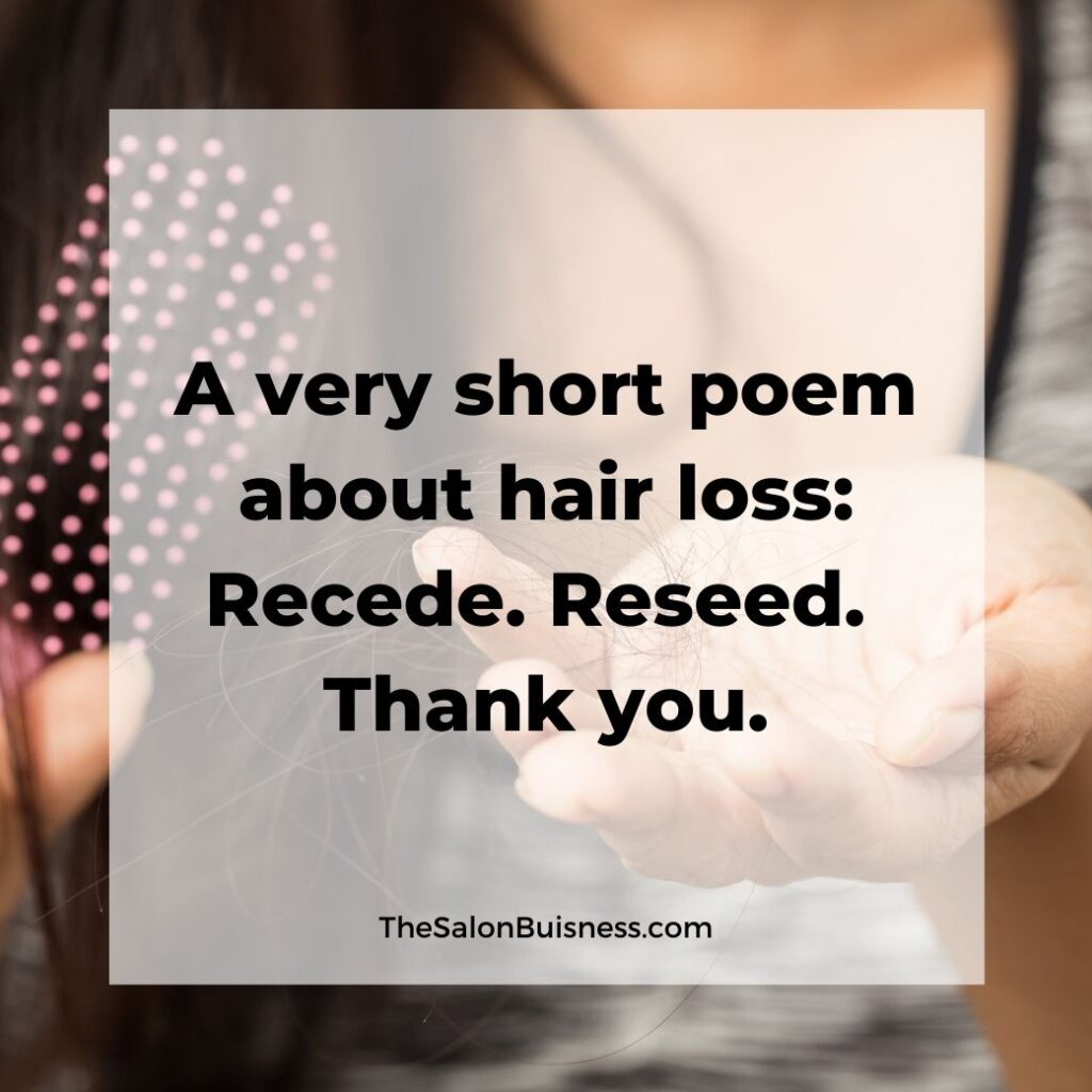 hair loss quotes   -  woman with brown hair holding hair that came out & brush