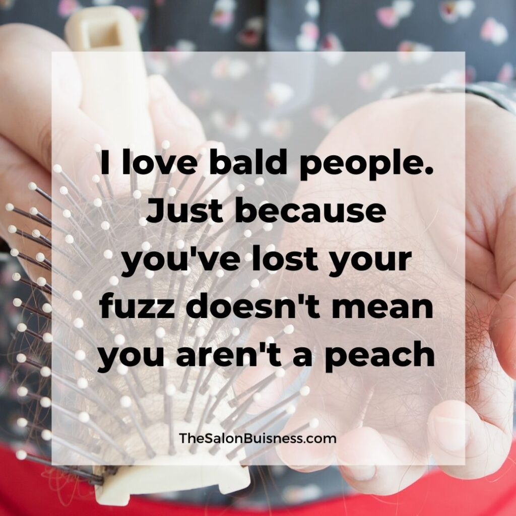 hair loss quotes   -  woman with hair in hand and hair brush