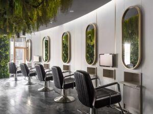 Green hair salon styling stations