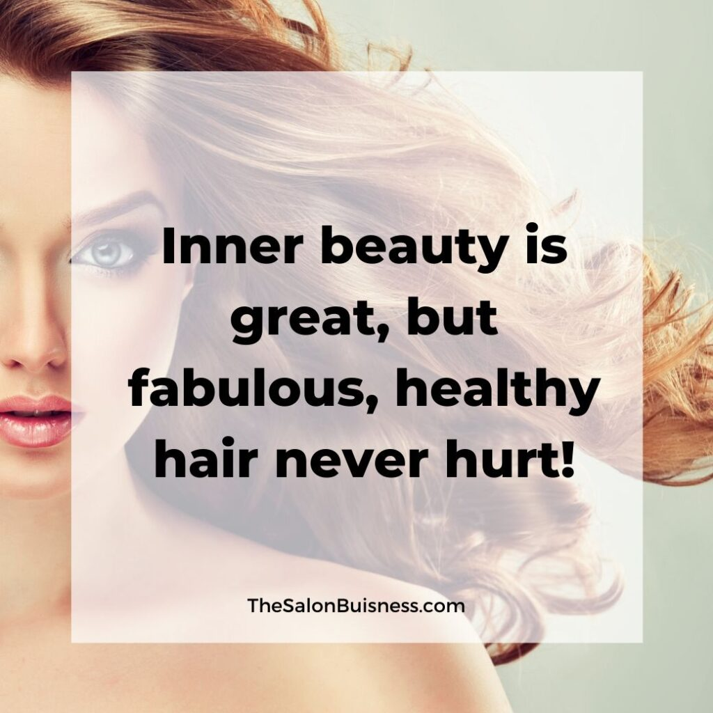 inspiring hair care quotes  - woman with curled blond hair blowing back - light green background