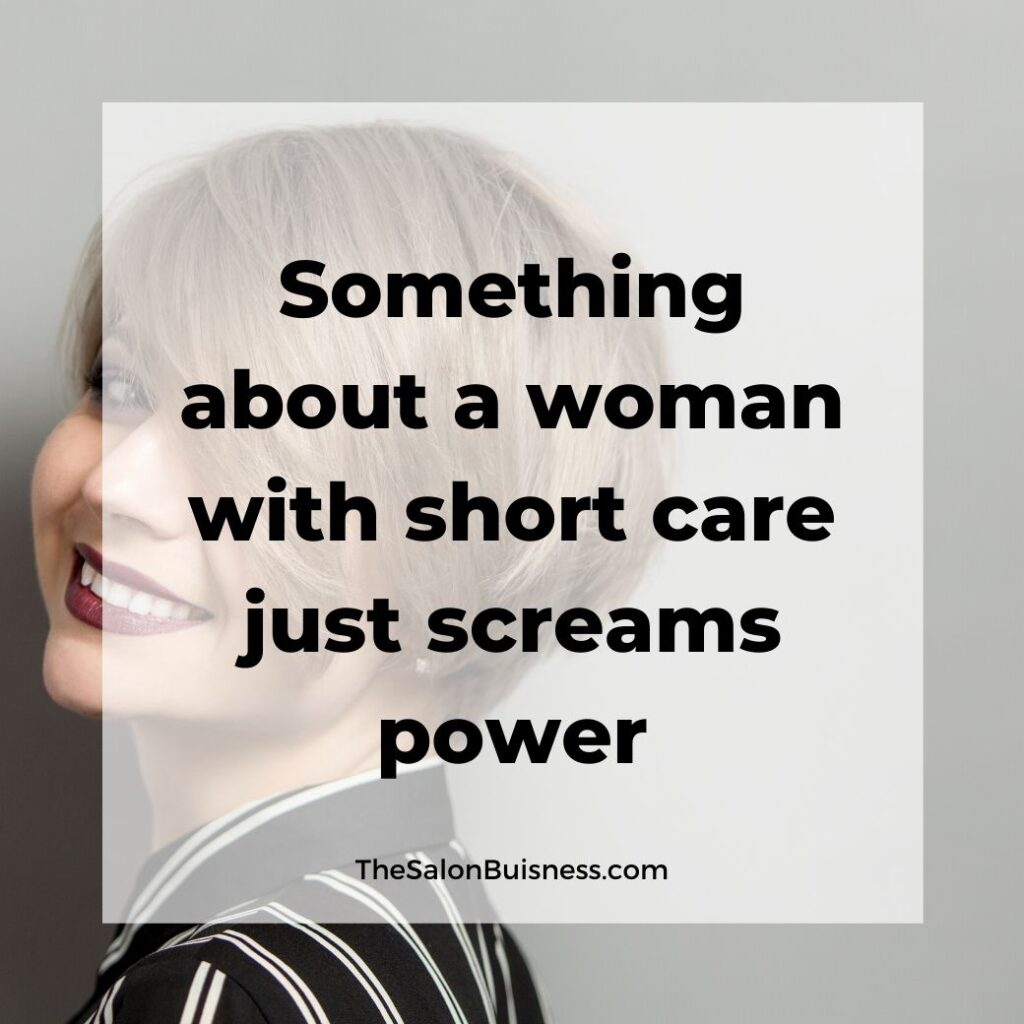 inspiring short hair quotes  - woman with short blond hair covering one eye wearing black & white stripes