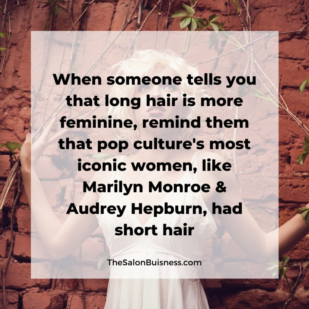 inspiring short hair quotes  - woman with short blonde hair in white dress against red dirt wall - marilyn monroe  - audrey hepburn